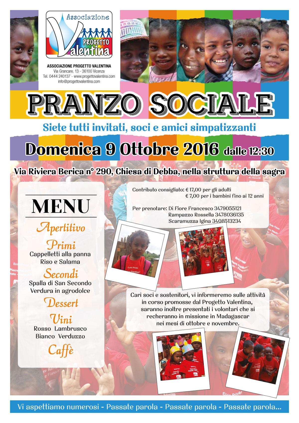 Pranzo Sociale - Domenica 9 Ottobre 2016
